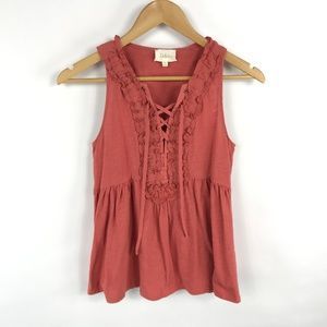 Deletta Lace Up Ruffle Front Tank Top 3430
